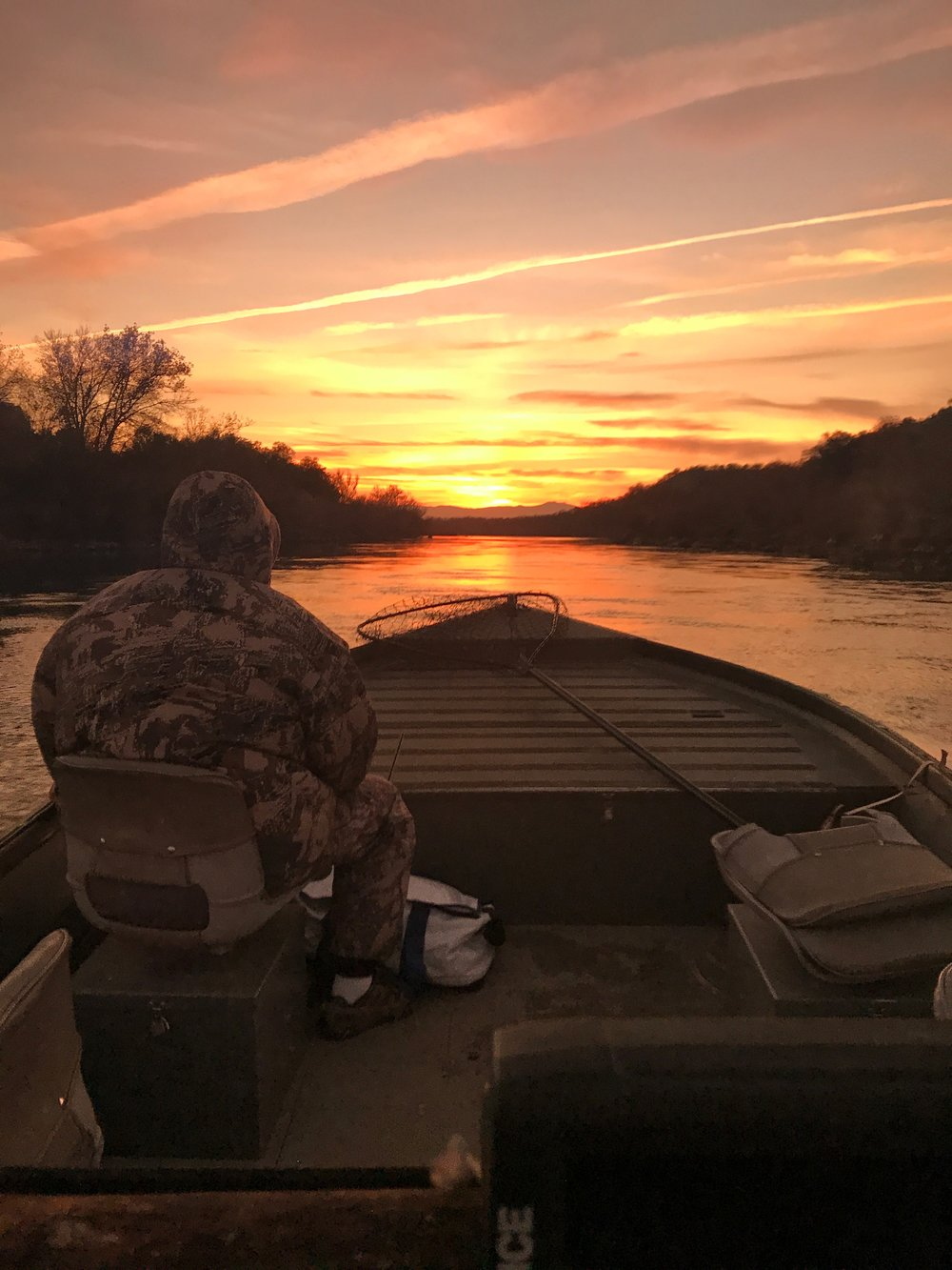 Heading into the sunset at the end of one of our countless adventures on the Sacramento River.