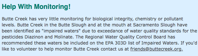 Friends Of Butte Creek  http://www.buttecreek.org  .  Click the link to check out the FBC website hosting a ton of information about Butte Creek Spring Run Chinook Salmon in the creek.
