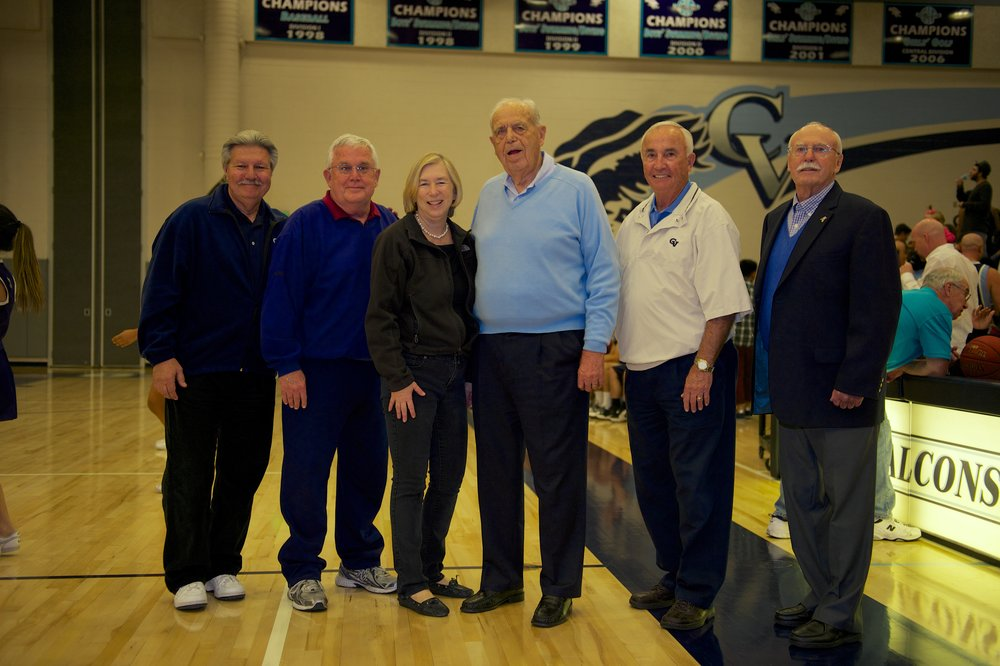 Dr. Bill Thomas (3rd from Right) with all former CV principals (L-R) Mike Livingston, Gary Talbert, Linda Evans, Ken Biermann and Sam Nicholson.  Photo credit John Pehar