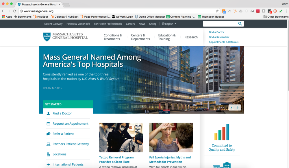Massachusetts General Hospital Website