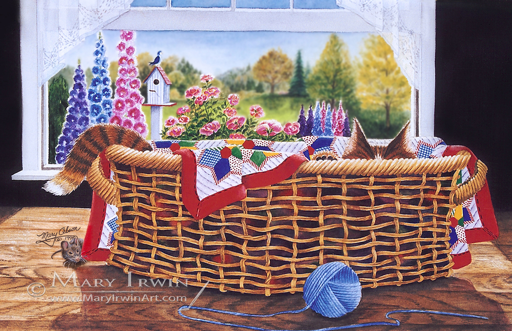 Cat in a Basket by Mary IRwin