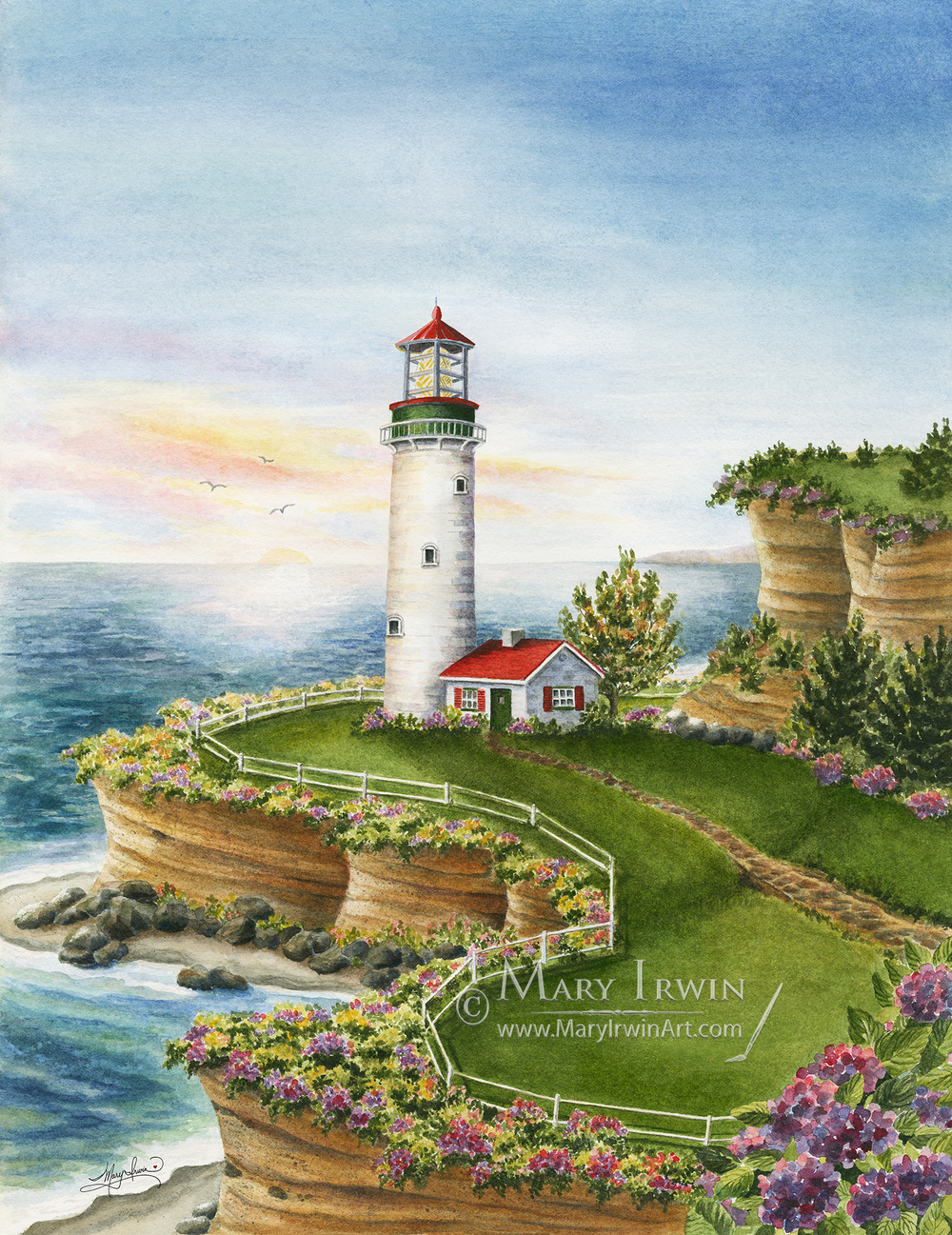 Lighthouse Sunset by Mary Irwin
