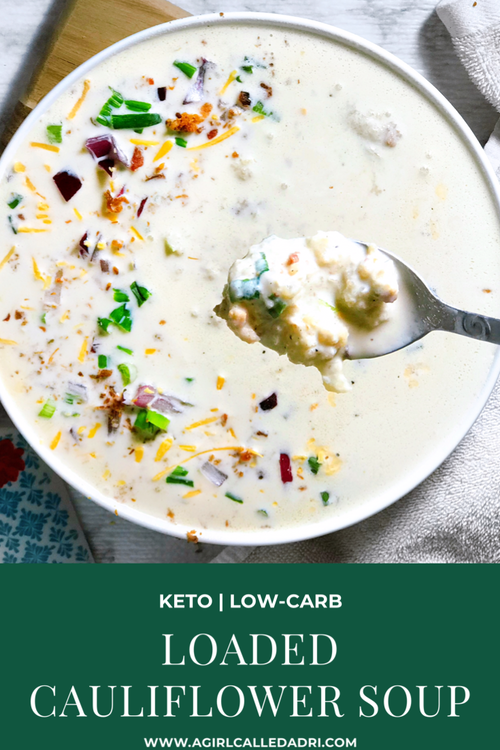Loaded Cauliflower Soup | Keto, Low-Carb - A comforting and hearty loaded cauliflower soup that encompasses the flavor profile of loaded baked potatoes in a keto-friendly way.