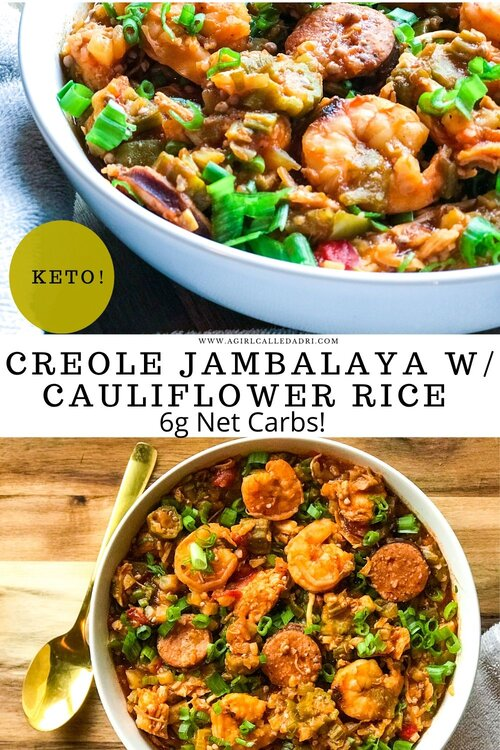 "A regional delight with a low-carb/keto spin, this jambalaya recipe is sure to please. Cauliflower rice is the base of this traditional favorite. Delicious andouille sausage, tender chicken breast, and cooked-to-perfection shrimp take center stage for a treat that you won't soon forget. The ""Holy Trinity"" of Cajun and Creole cooking (celery, bell peppers, onions) add familiar and comforting flavor that feel like home. This recipe can easily be adapted for your slow cooker or instant pot."