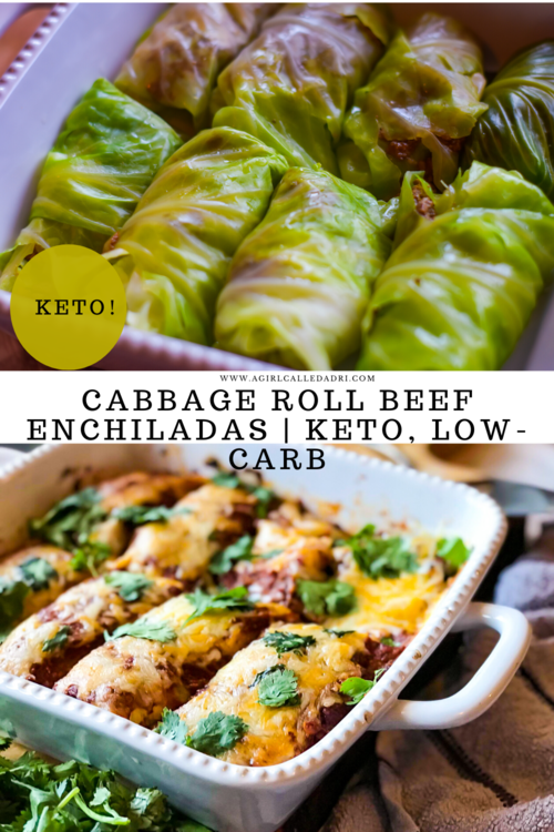 Nutritious cabbage leaves take the place of traditional tortillas in this delicious beef enchiladas recipe. These beefy, cheesy enchiladas are low-carb, keto-friendly and jam packed with flavor.