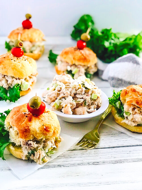 Seafood Salad Sliders on Low-Carb Buns | Keto, Low-Carb photographed on a white background with gold fork