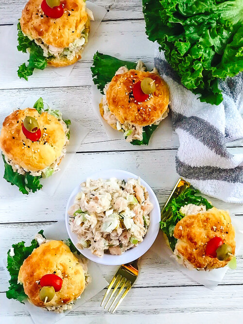 Seafood Salad Sliders on Low-Carb Buns | Keto, Low-Carb on a white background with a gold spoon