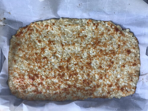 Cooked cauliflower flatbread crust