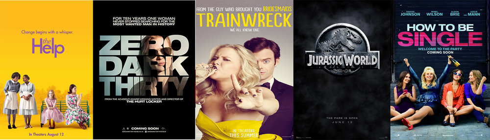 Movie Posters of,  The Help, Zero Dark Thirty, Trainwreck, Jurassic World,  and  How to be Single.