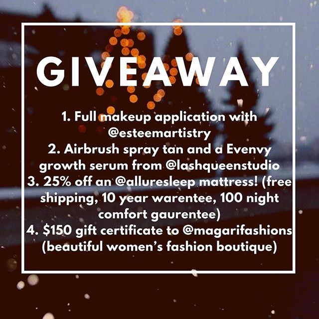 ✨GIVEAWAY✨ With just a week away from Christmas a few of us local business owners have decided to bring you one last giveaway for 2017! To enter this giveaway valued at over $500... 1️⃣ follow  @esteemartistry  @lashqueenstudio  @deneen_n_k  @alluresleep  @magarifashions  2️⃣ tag friends in separate comments (more friends more entries)  3️⃣ for an extra entry, inspire us with an idea on how to slow the pace down around the holidays!