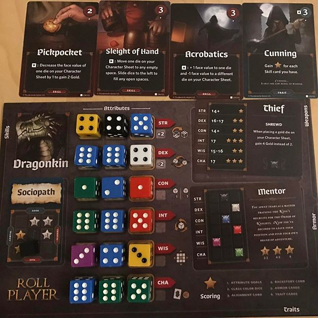 Trying out Roll Player! Playing myself, a sneaky, sociopathic dragon. #rollplayer #boardgames #boardgame #analoggames #tabletop #tabletopgames #bgg #boardgamegeek  #tabletopgaming #boardgamesofinstagram #juegosdemesa #rumandboard #boardgaming #boardgamenight