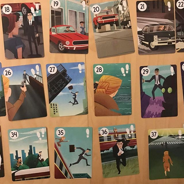 The cards in #Fugitive tell a story. I spy some Burgle Bros characters! So cool. Fun and quick game to scratch that deduction itch. #boardgames #boardgame #analoggames #tabletop #tabletopgames #bgg #boardgamegeek  #tabletopgaming #boardgamesofinstagram #juegosdemesa #rumandboard #boardgaming #boardgamenight