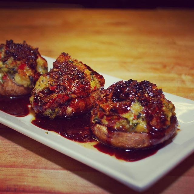 💥 'WOW! WOW! WOW!' 💥 is the review on our stuffed mushroom special tonight... - - Mushrooms stuffed with crabmeat, shrimp and roasted red peppers  #special #foodlover