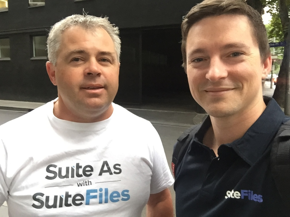 Andrew and Callum representing SuiteFiles in style!