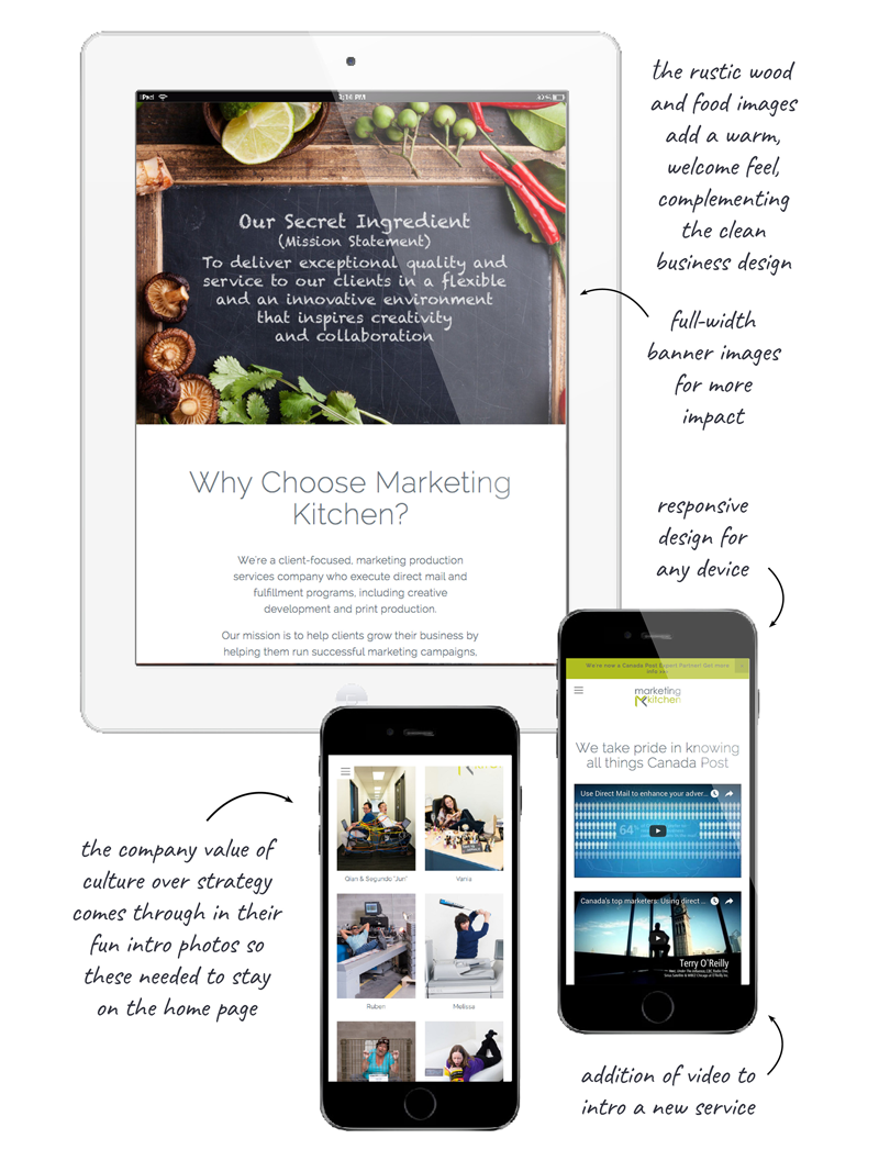 Website makeover for Marketing Kitchen by Bonnie Summerfeldt Design