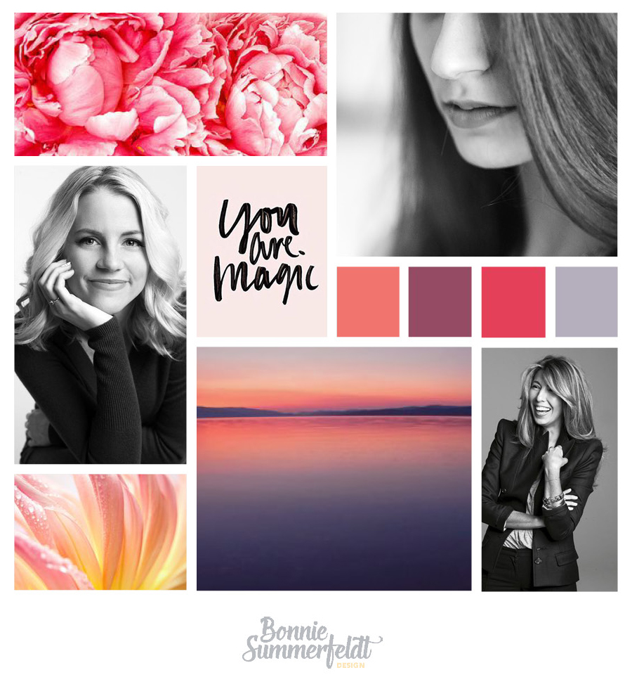 This mood board captures the feeling of having worked with Marcie with images of happy, confident women. We surrounded them with warm, inviting colours and fonts you would see used by a beauty brand. Her brand connects with her potential clients on a more emotional level this way - by showing them how they could feel.