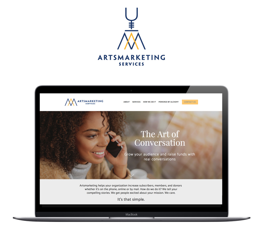 Artsmarketing is a boutique telemarketing and telefunding agency founded over 30 years ago. They specialize in fundraising for non-profit arts organizations, charities and cultural institutions across North America. We refreshed logo, colours and website. Web design and user experience had changed so much since their last website design. Branding and website design by Bonnie Summerfeldt Design – helping successful professionals get online and look like the bosses they are.
