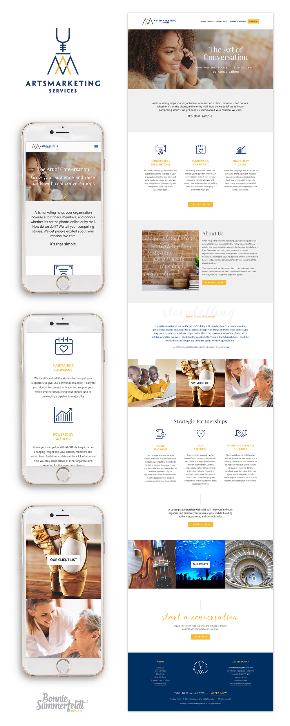 Responsive website design is a must with half of your clients looking you up via mobile now. Clients are busy so website copy must be shortened with less about features and more about results. Squarespace web design and logo refresh by Bonnie Summerfeldt Design – brand and website design for professional services such as consultants, therapists and advisors where credibility counts. https://bonniesummerfeldt.com