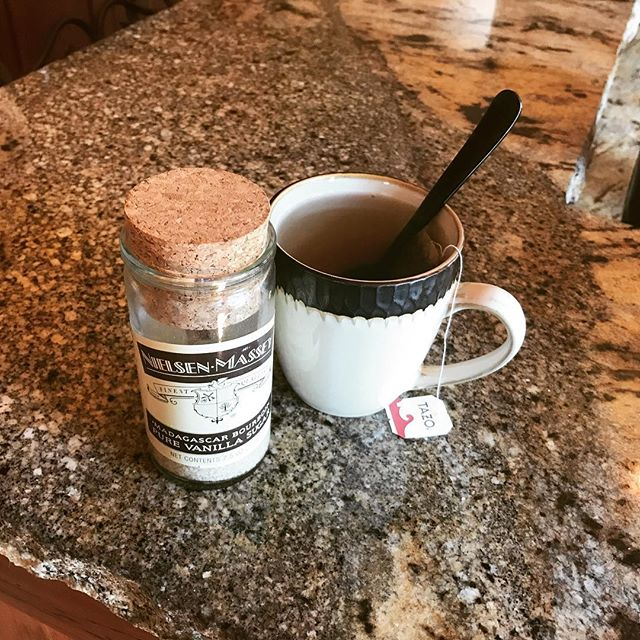 Feeling decadent this morning - hot awake tea with vanilla sugar! Have yet to find one thing that it doesn't taste amazing on or in! So my quest continues to find something it doesn't taste great in. Someone's gotta do it! @surlatable . . .  #HersHisandOurs #BlendedNotStirred #BlendedFamily #Divorce #coparenting #stepfamily #blendedfamilylife #divorcedmom  #divorcedmama #bonusmom #emptynester #blendedfamilyemptynester #stepmom #stepmomlife #surlatable #fiftyandfabulous #vanillasugar #awaketea