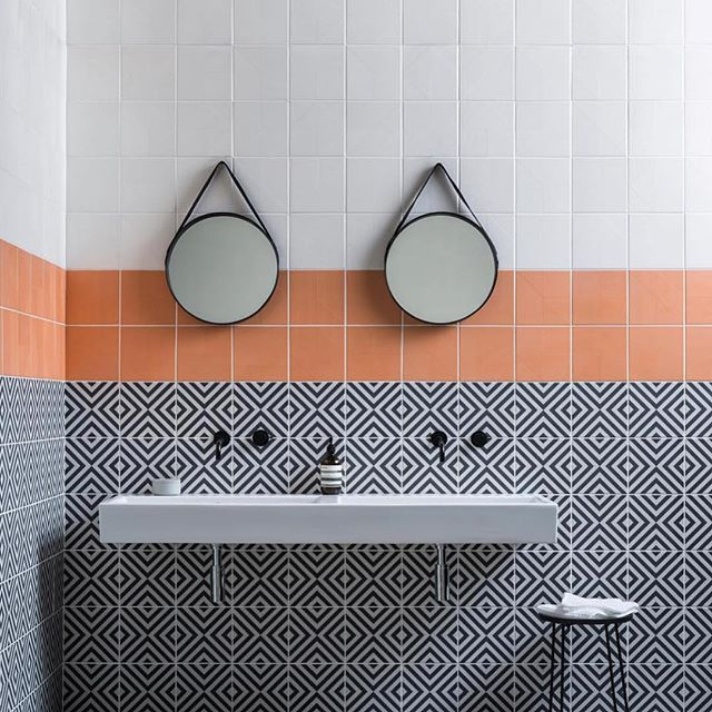 A little bit of fun for a Tuesday morning! #encaustic #pattern #orange #interiordesign #bathroom
