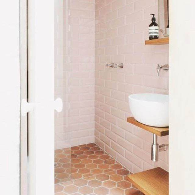 Yes peeps terracotta is back! We have some stunning new shapes all hand made in Mexico! 📸 Pinterest #terracotta #palepink #bathroom #interiordesign #tiles