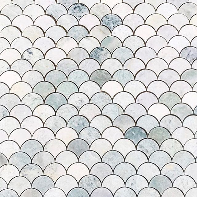 These beauties about to be laid by @angelasteynandco ' can't wait to see the finished bathroom! #tilelayout #fishscales #marble #mosaics #interiordesign