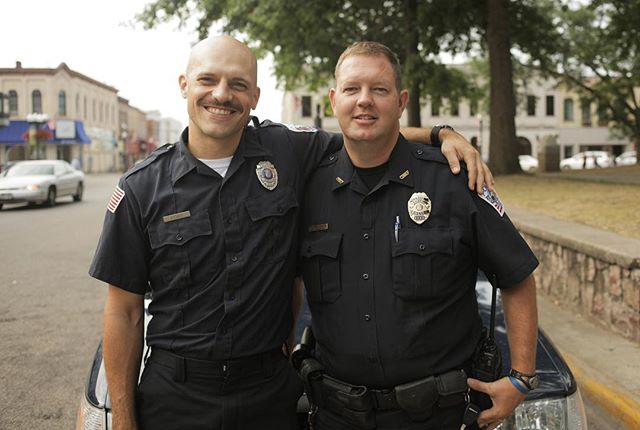 Jason Schumacher, fake cop, with Mike Schauf, the very real Baraboo chief of police who supplied us uniforms complete with handcuffs and batons and vintage Circus City badges, locations, and a spare police cruiser they had sitting around. Thanks for making a movie with us, fellas. Love ya, Baraboo. Medal of Victory link in bio! #indiefilm #filmmaking #goodtimes #goodcop #gratitude