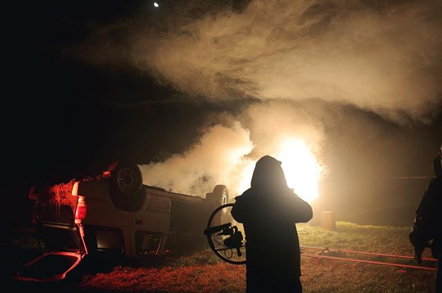 Our movie smoke clashed with fog during an eerie night shoot at Paul's Tree Services outside of Madison. The air was so moist it kept fogging out the lens, making a long night even longer. Much respect to our dedicated crew for making it happen even on long days like this one. Movie link in bio! #filmmaking #bts #setlife #independentfilm #nightshoot
