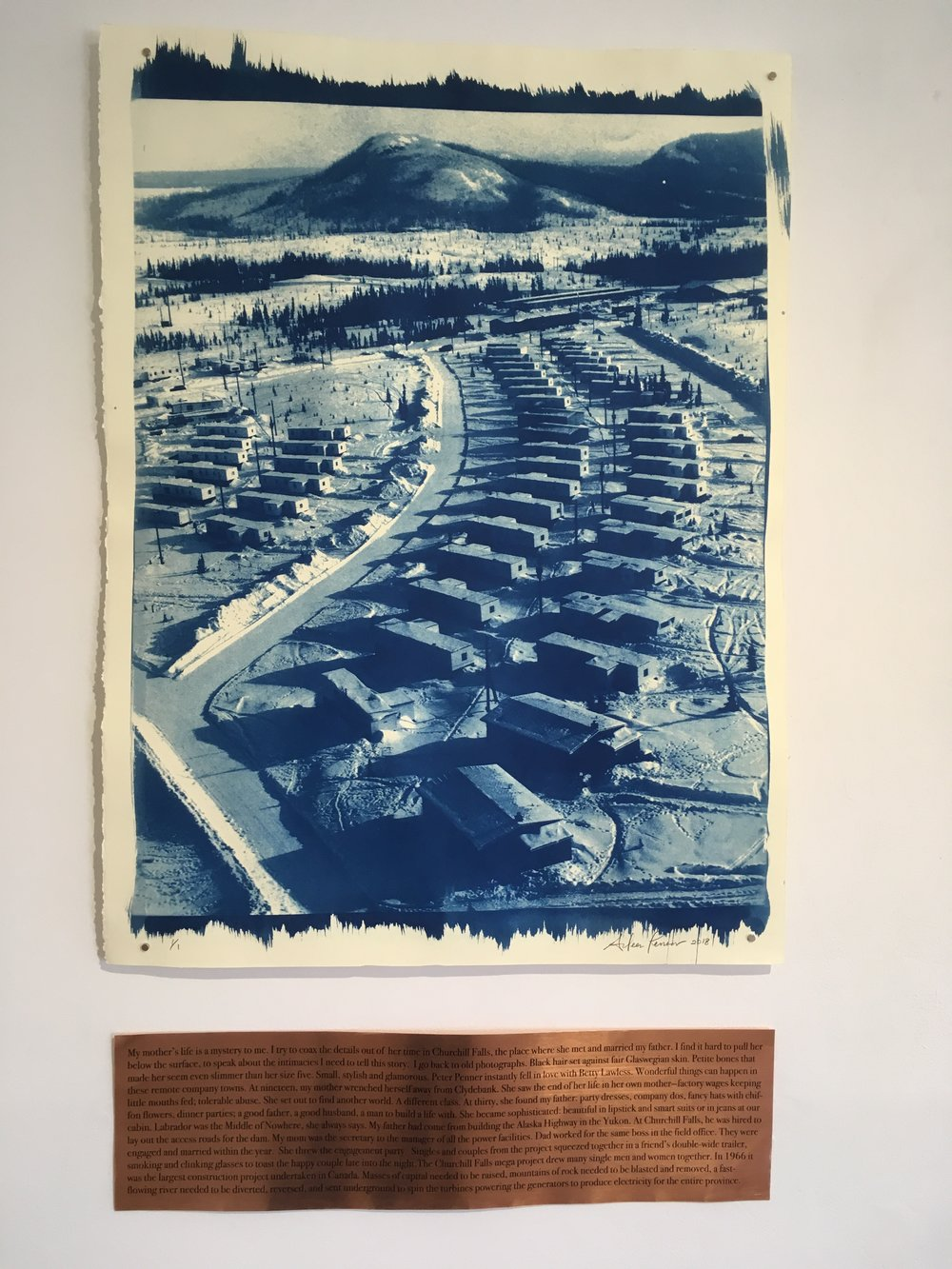 "Aileen Penner Company Town , 2018 22"" X 30"" Cyanotype on Stonehenge paper and copper plate"