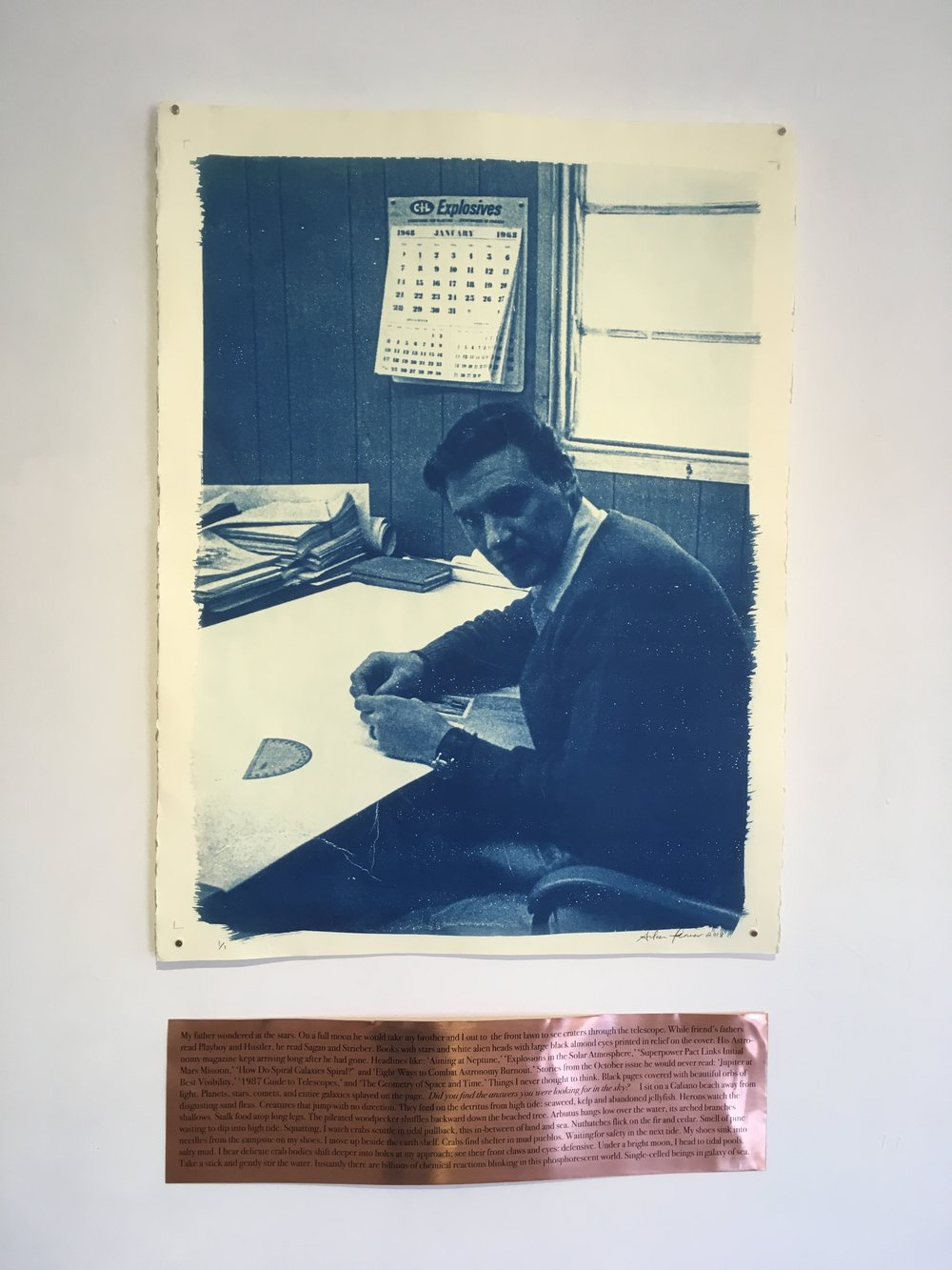 "Aileen Penner  Father  , 2018 22"" X 30"" Cyanotype on Stonehenge paper and copper plate"
