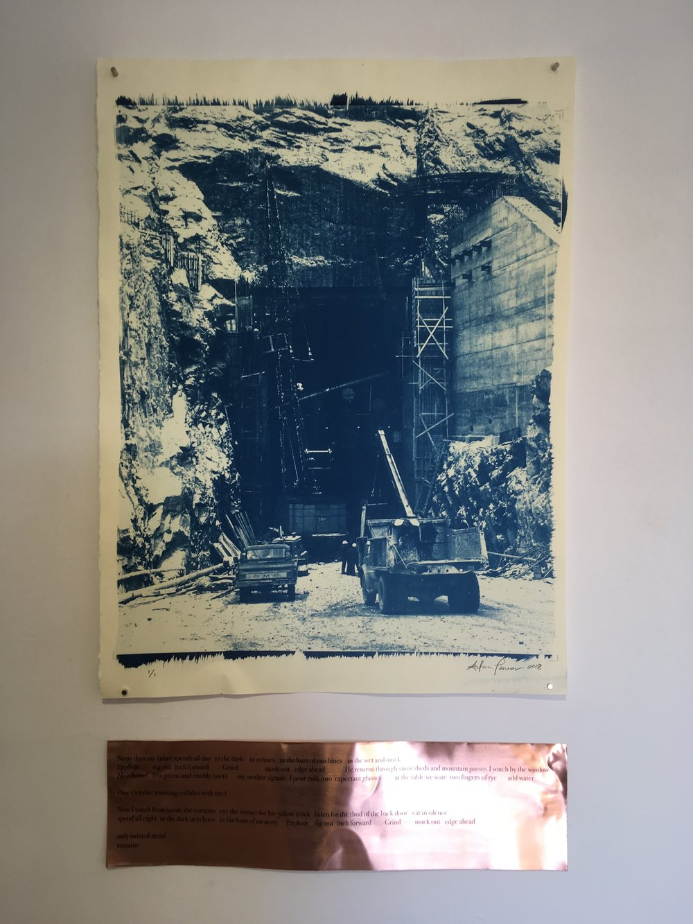 "Aileen Penner East Tunnel , 2018 22"" X 30"" Cyanotype on Stonehenge paper and copper plate"
