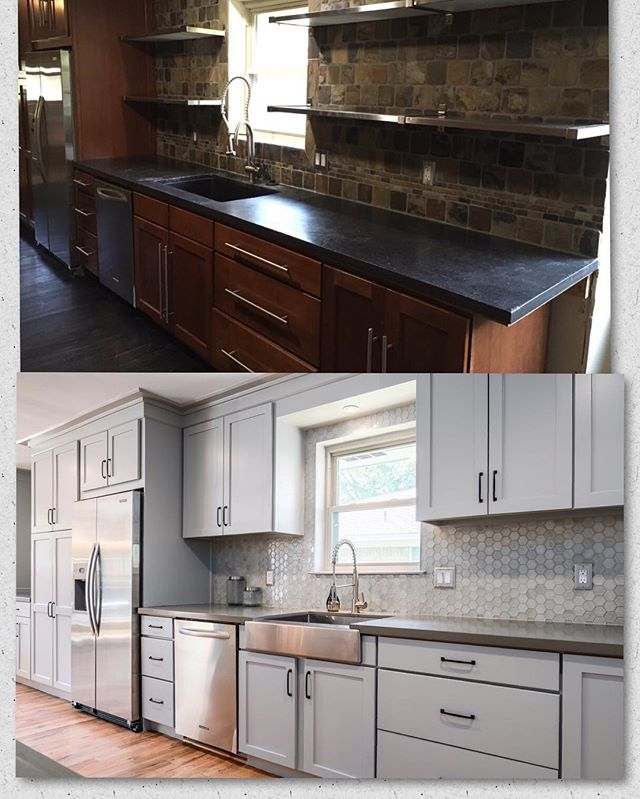 Another before/after from our #Brushcreek project. This kitchen went from dark and just ok to light and OMG WOW. #dallasrealestate #remodel #kitchenremodel #statementdesingbuild