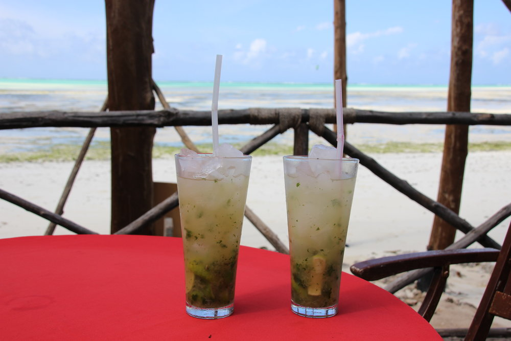 Enjoying our medicine on Jambiani Beach, Zanzibar.