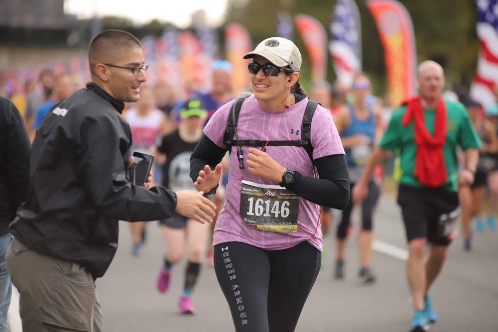Running the Marine Corps Marathon.