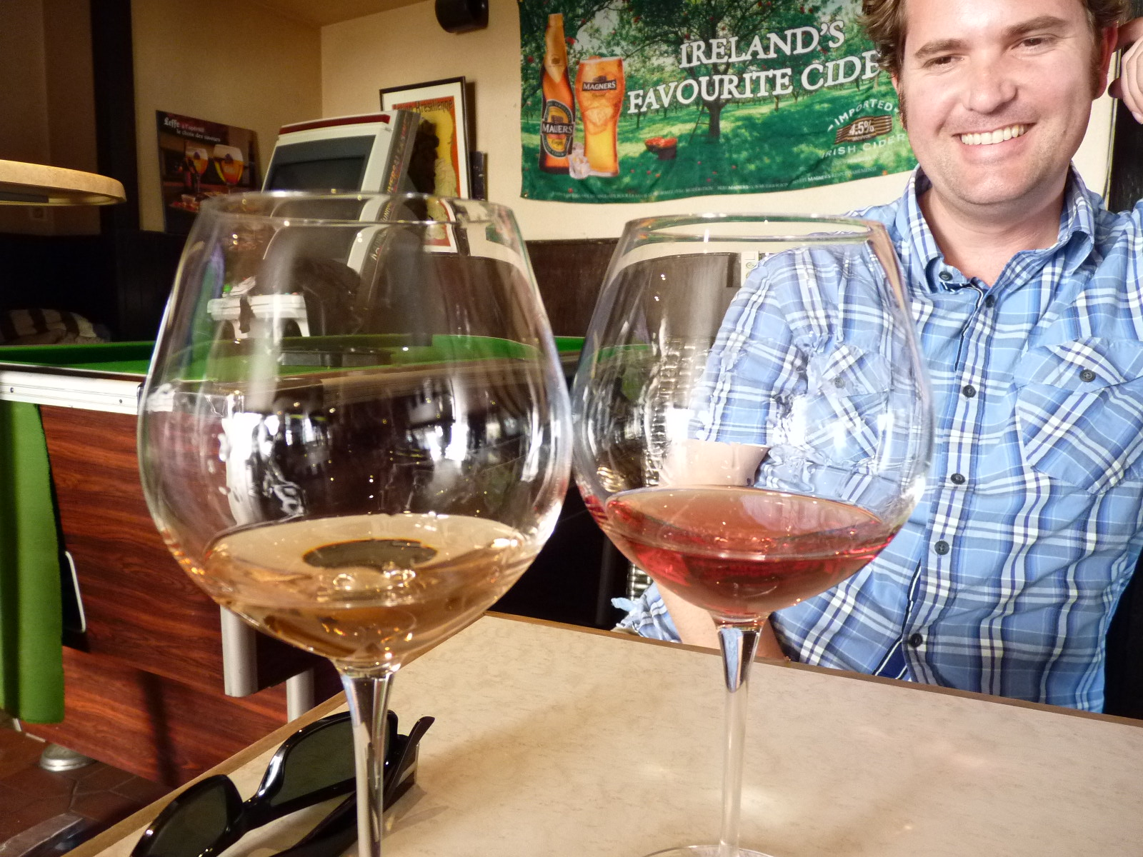 Jon sampling rosé from different regions in France