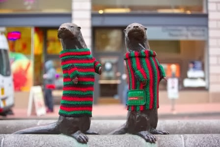 Portland's Ugly Sweater 'Yarn Bomb' by Travel Portland. Photo c/o Sue Frause