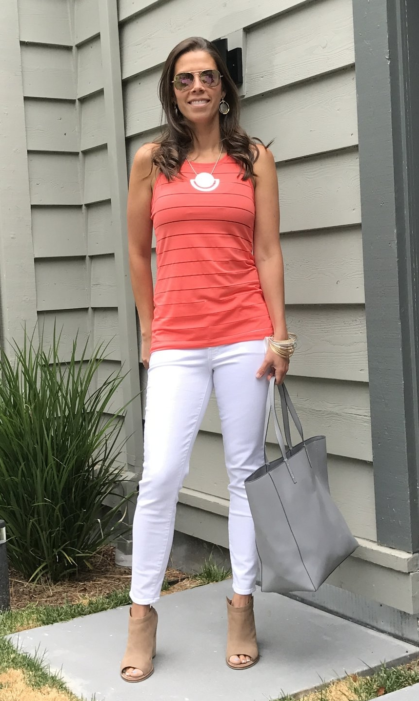 6ea7292fac Today I'm wearing the Athleta Stripe Mesh High Neck Chi Tank in the color  coral with white J Brand Capri skinny jeans. This tank also comes in a  handful of ...