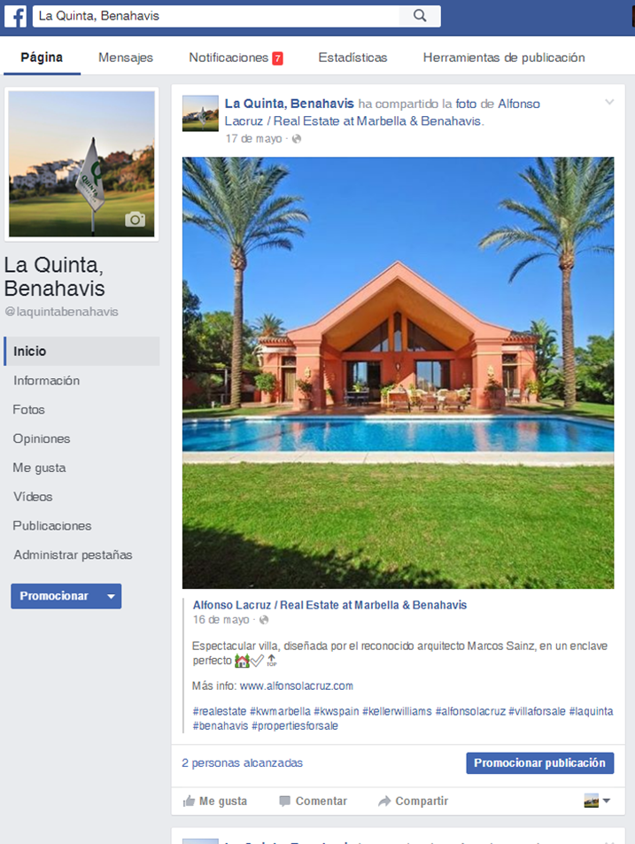 Marketing en facebook de villa en venta Benahavis