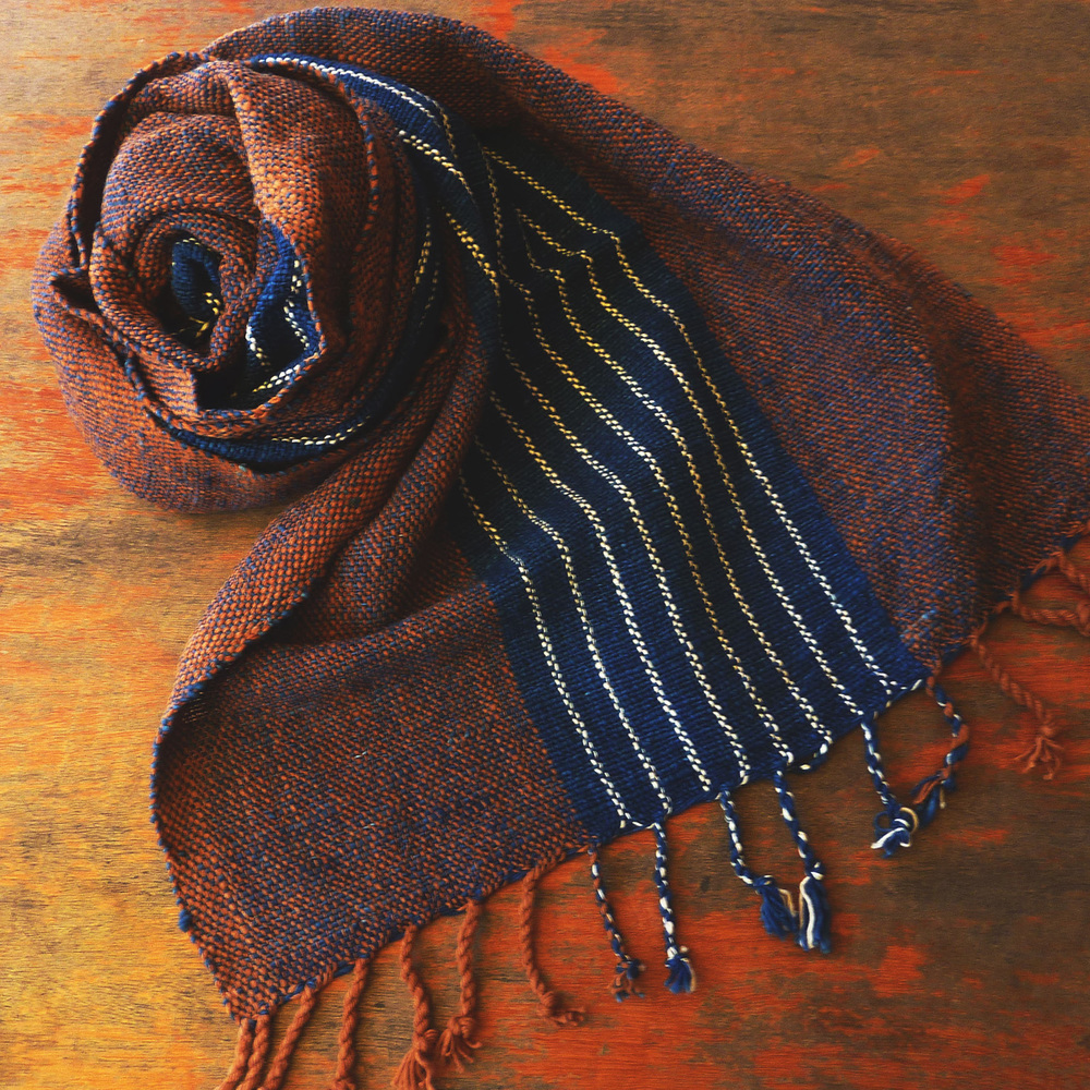 Tight weave cotton scarf, multi-color striped pattern