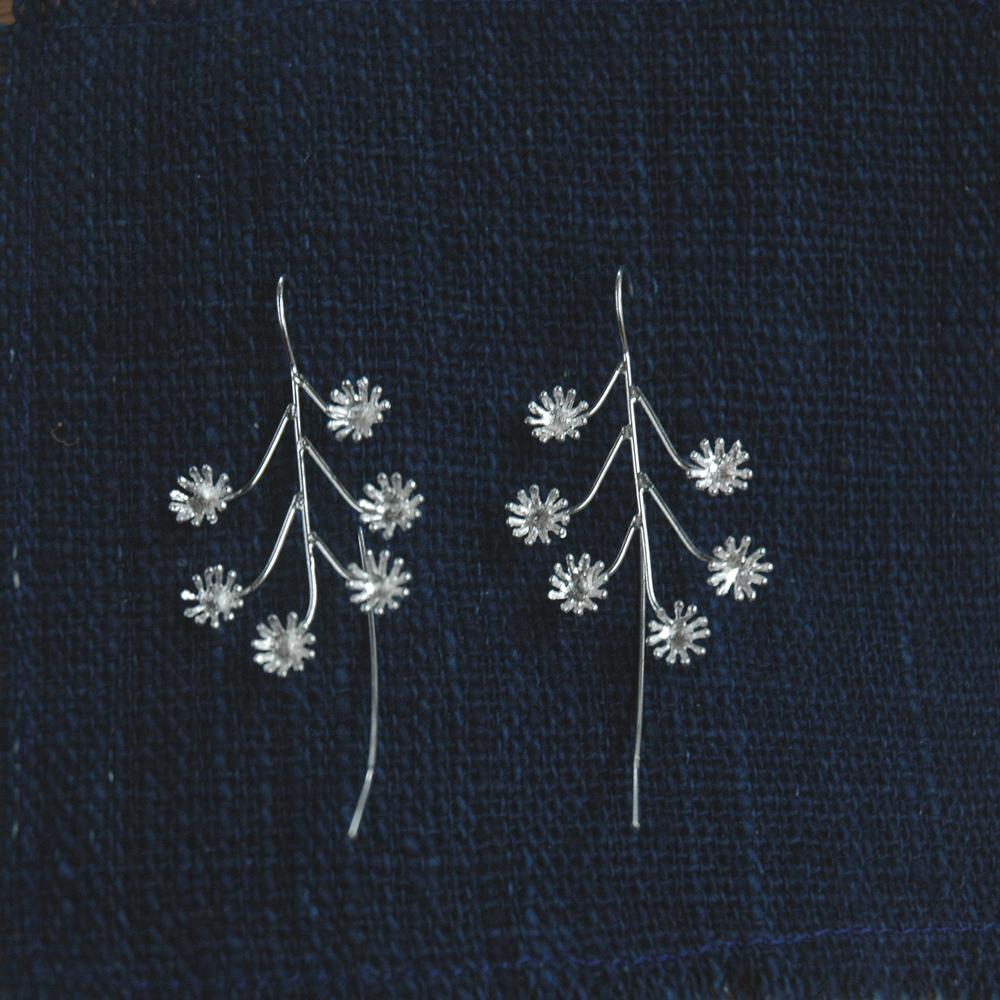 Flower long earrings