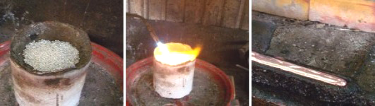 Smelting the raw silver beads.  Molten silver poured in mould to form silver bars