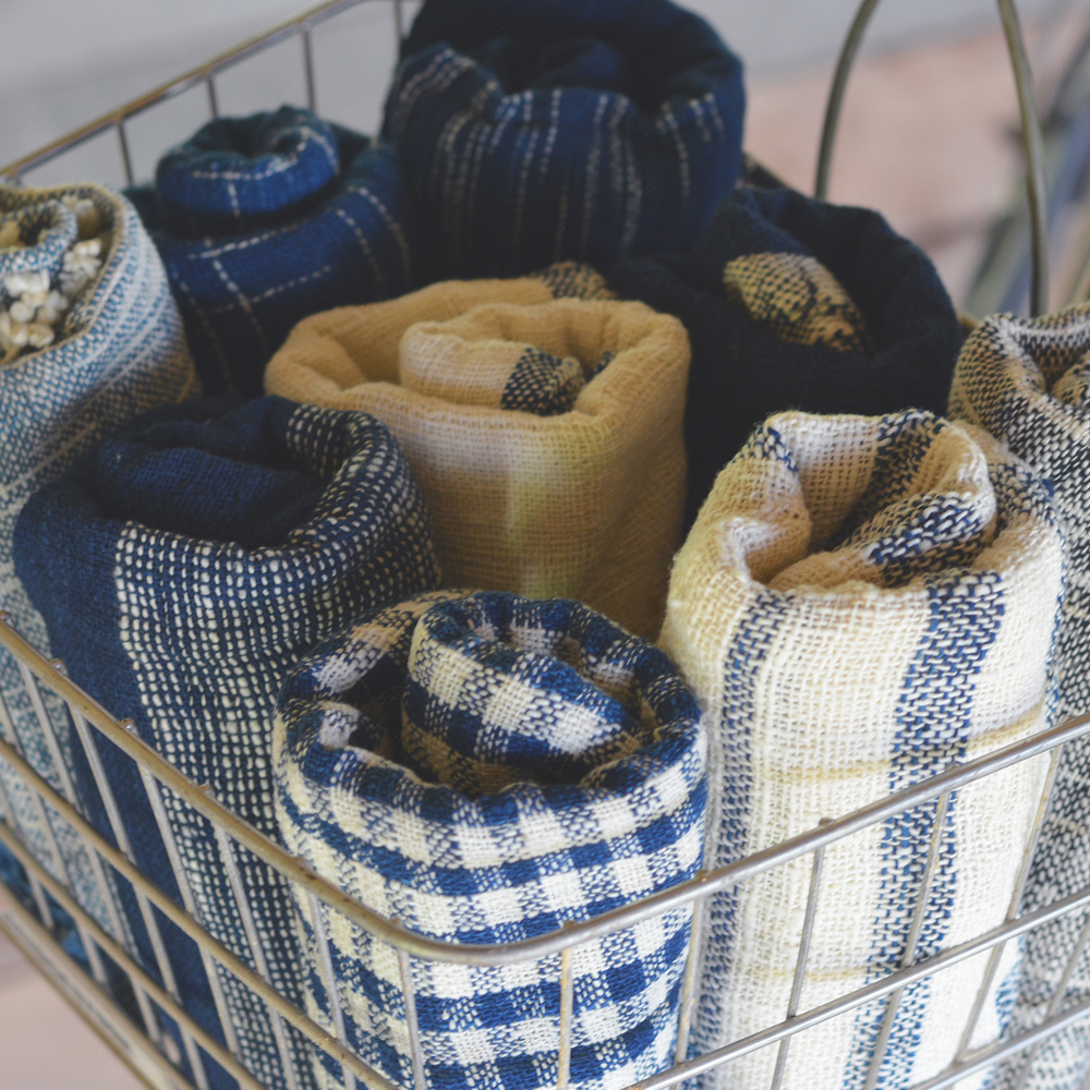 Tight weave cotton scarves, indigo dyed