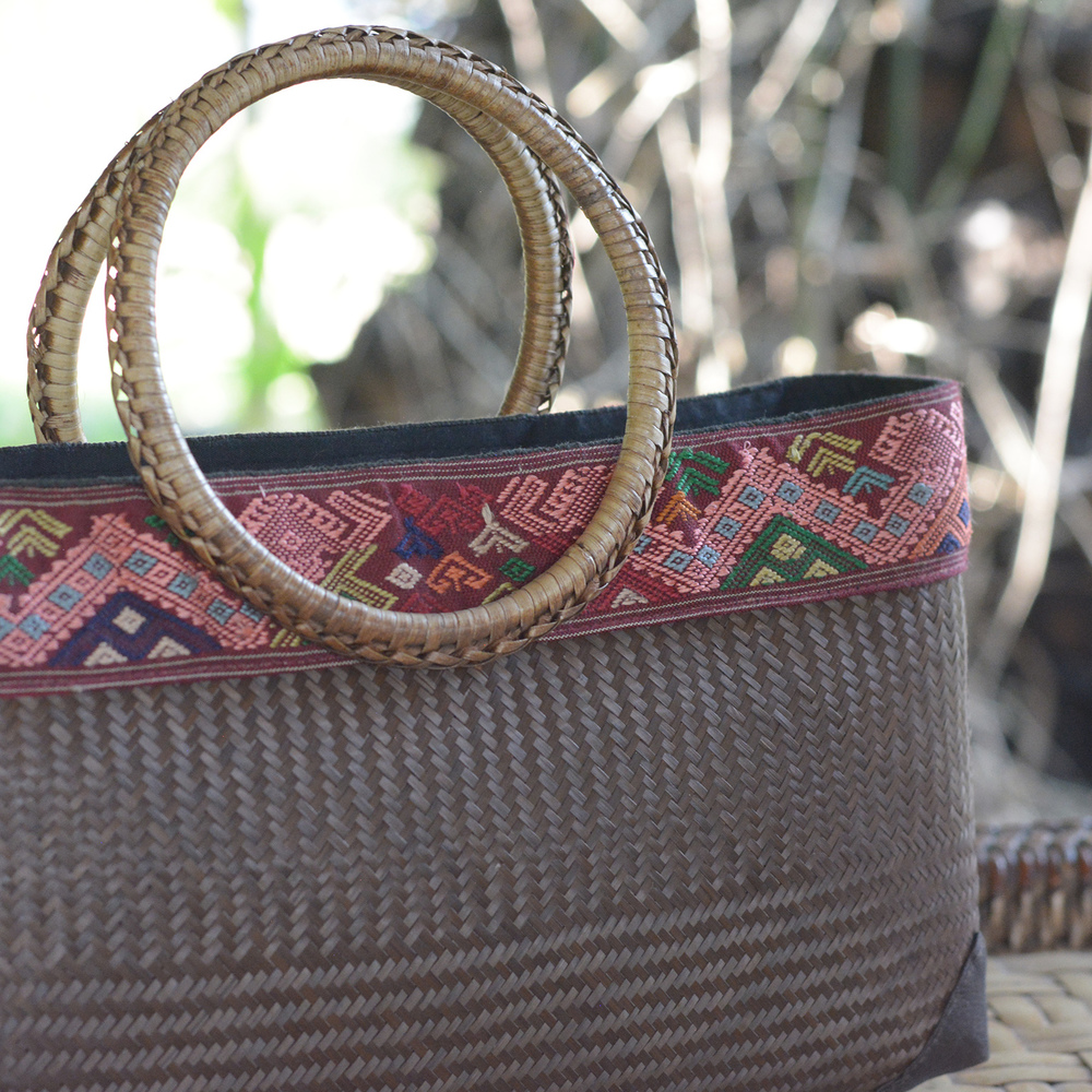 Bamboo and silk handbag