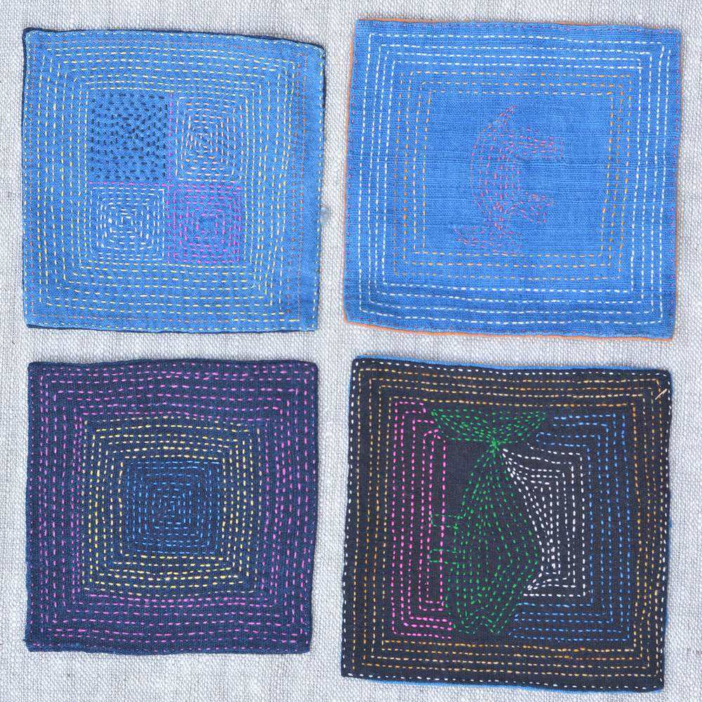 Bokeo embroidered cotton coasters