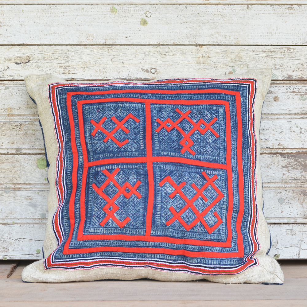 Hmong hemp pillow case