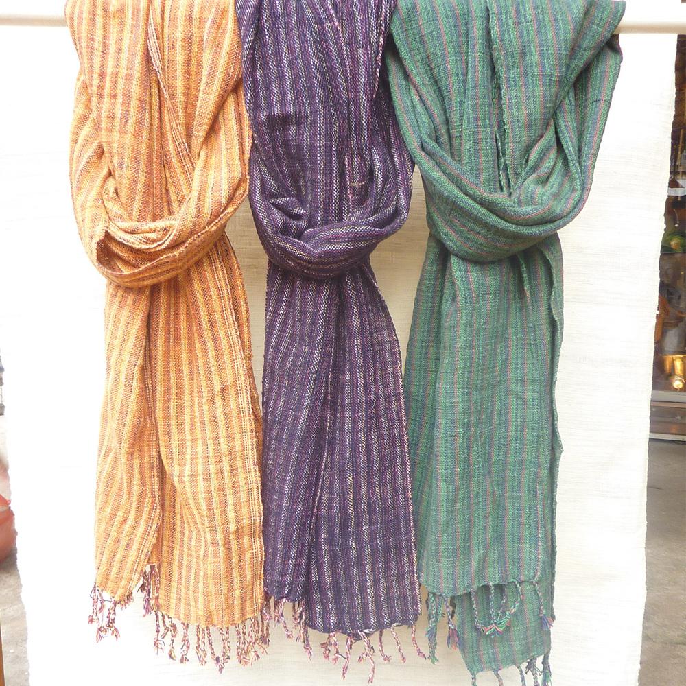 Écharpe en coton à mailles serrées, rayures unicolores