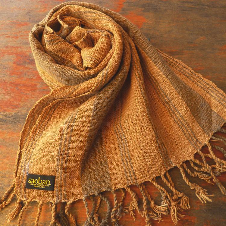 Écharpe en coton à armure serrée, motif rayé