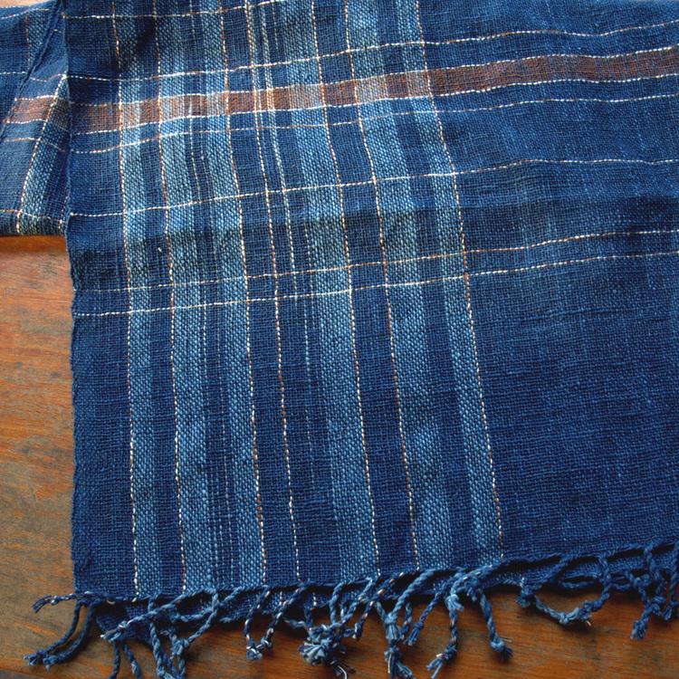 Écharpe en coton à mailles serrées, motif à carreaux