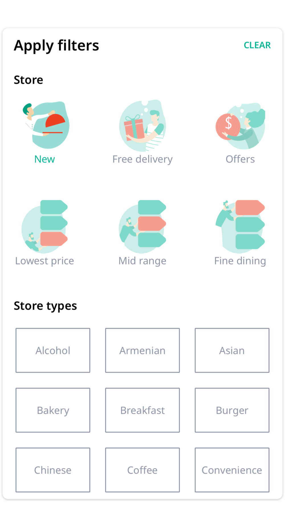 Filter it out - Filter our selection by offers, price ranges, cuisine types, delivery time and more.
