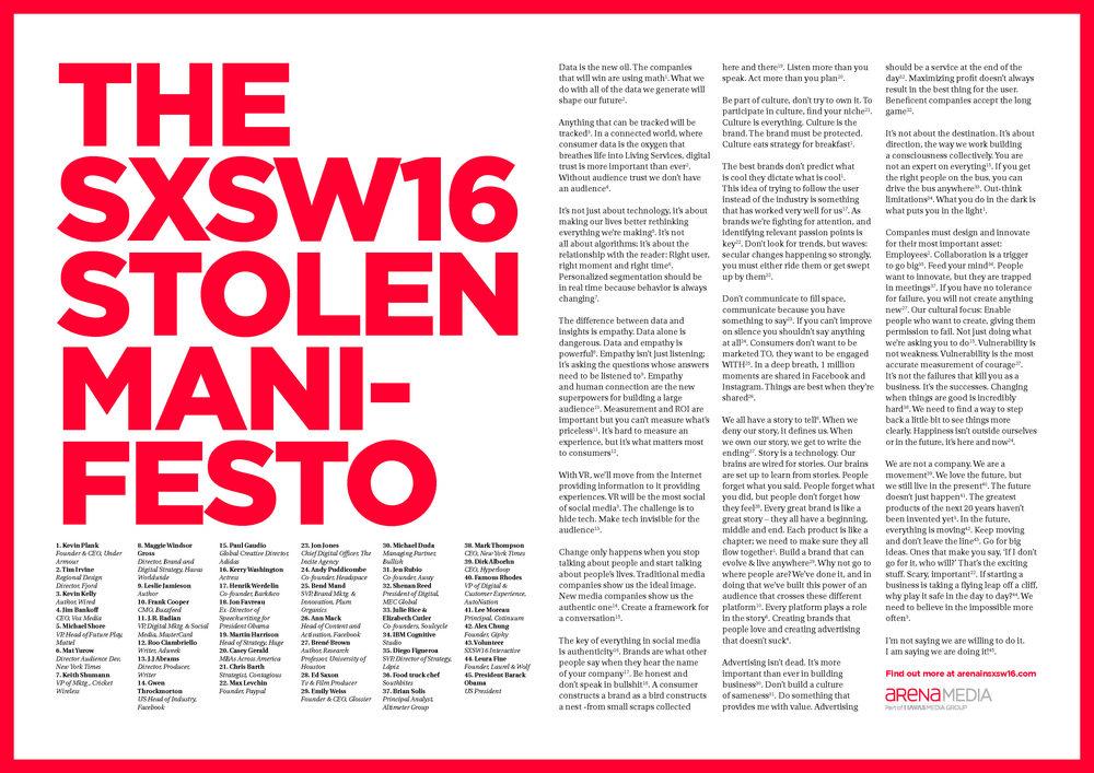 The SXSW16 Stolen Manifesto